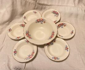 Mid-century 40s / 50s complete dessert bowl set (1 serving, 6 small): trifle / fruit salad by Rigway