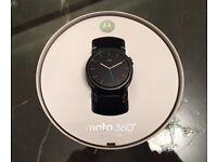 Motorola Moto 360 2nd gen smart watch brand new 42mm black casing with black leather strap