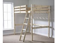 Celeste 4ft Small Double Solid Pine High Sleeper / Loft Bed in excellent condition