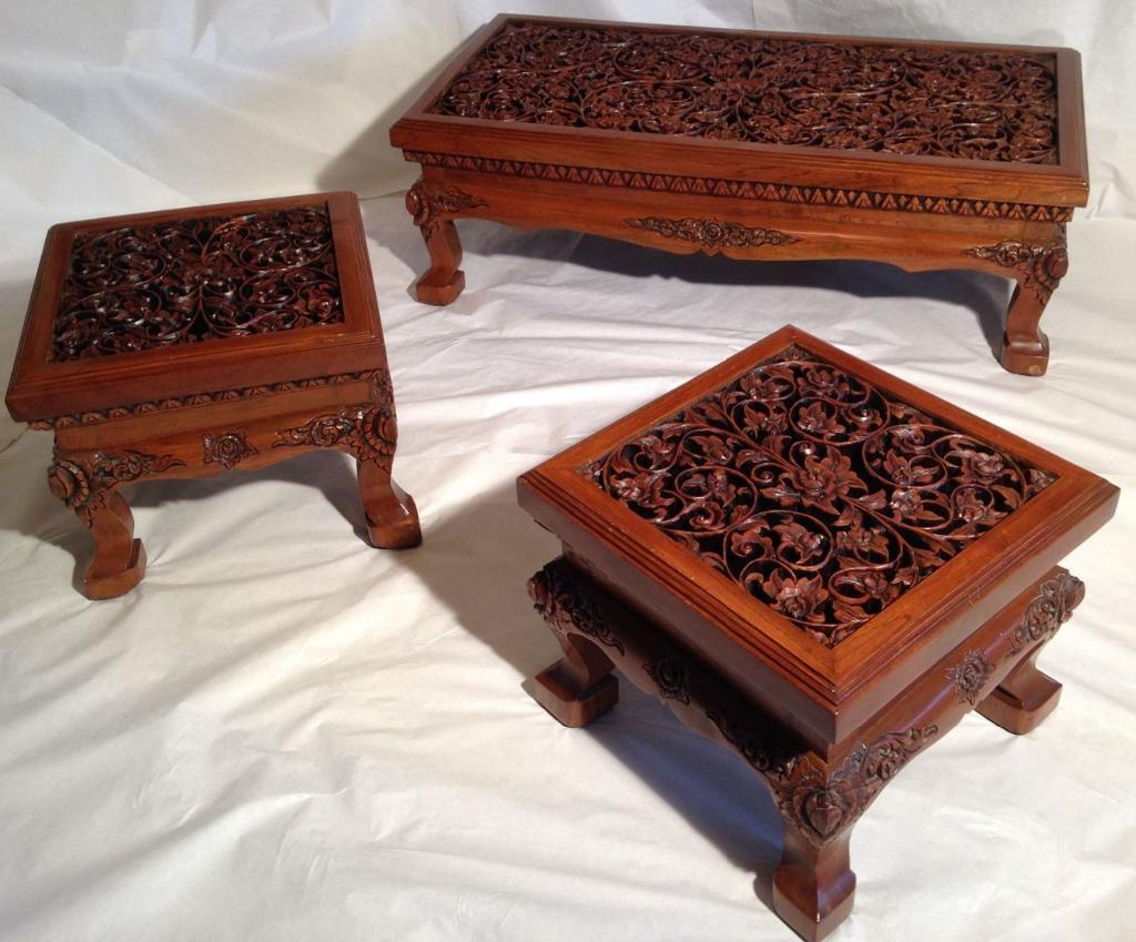 Vintage Thai Oriental Asian Solid Teak Hand Carved Coffee Table Set