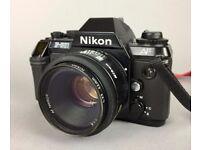 NIKON F-501 AF AUTO FOCUS SLR CAMERA with NIKKOR AF 50mm 1:1.8 PHOTOGRAPHY LENS