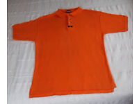 POLO SHIRT: Donnay men's orange 100% cotton short sleeve polo shirt. Size L.
