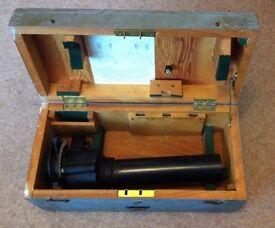 Canadian 7x50 Gun Sighting Telescope. Kodak Patt. G. 376. Original box with keys.