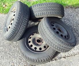 x4 Ford Focus Ka Mondeo Winter Snow Tyres on Steel Wheels Rims 185 65 14 6mm Tread 4 Stud
