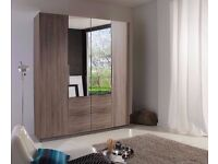 // ADDON A, REAL GERMAN 4 DOOR WARDROBE WITH TWO MIRRORS AND 4 DRAWERS //