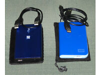 2 external portable harddrives 320gb & 500gb