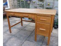 Vintage Mid Century Light Oak Desk / Writing Table