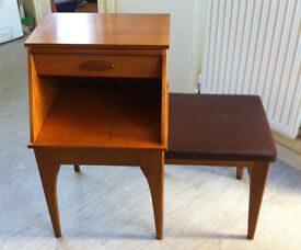 70s Retro Chippy Original telephone table Pull out seat Slide out memo pad, drawer beneath.