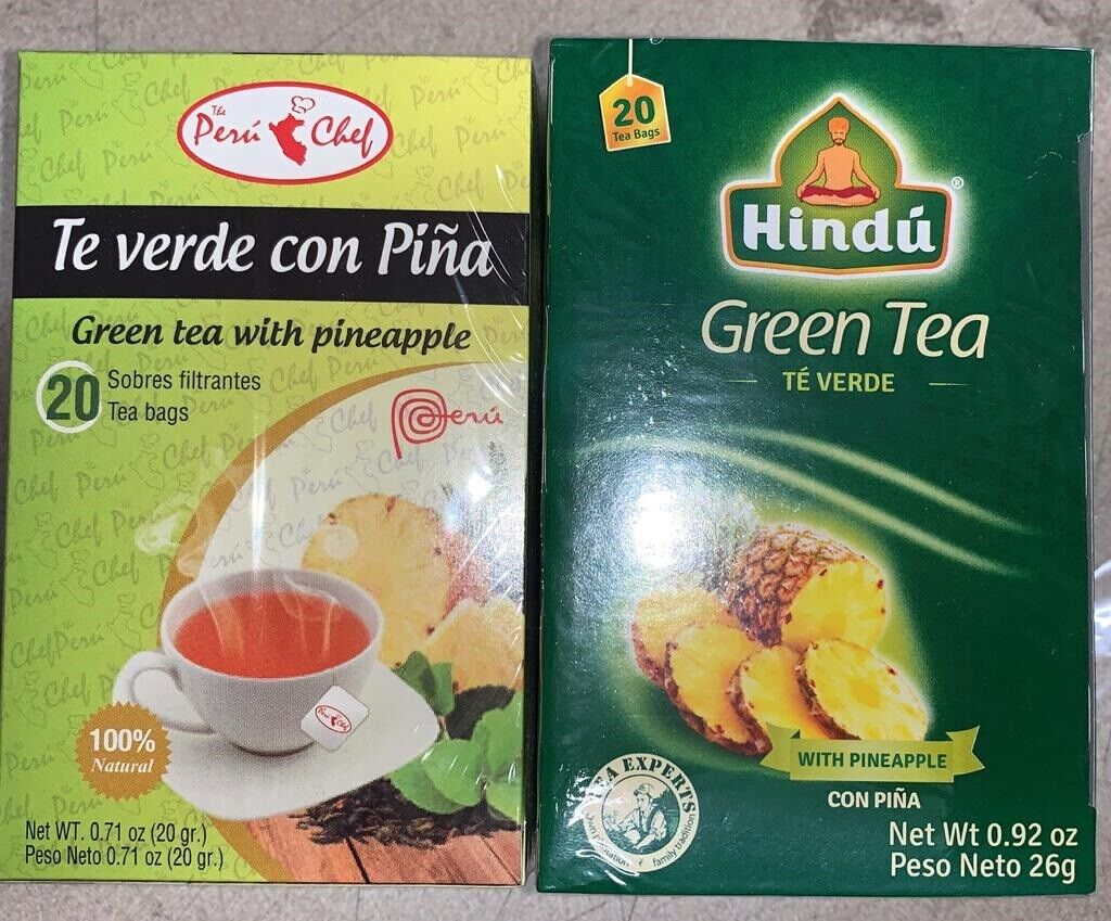 Hindu Green Tea with Pineapple Flavor 20 Pack of 3-total 60 bags detox + weight 8