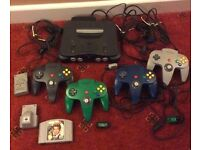 Nintendo 64 console, 4 controllers 1 game