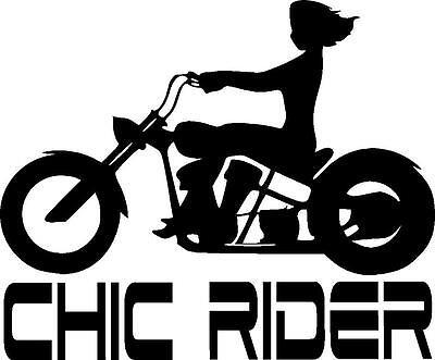 - Female motorcycle cruiser chic rider girl vinyl sticker decal