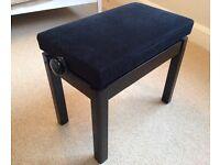 Adjustable piano stool, high gloss black