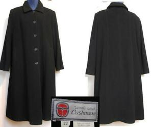 22 24 Womens Cashmere Wool PLUS 2X 3X BLACK Long Black Winter Coat Deadstock Vintage Made in Canada XXXL XXL Tall Jacket
