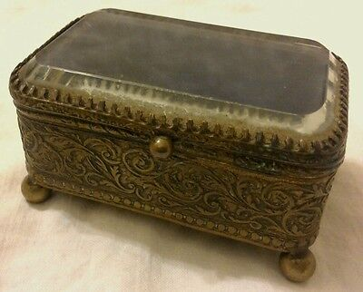 Antique Victorian Beveled Glass Ormolu French Casket Jewelry Box - Brass