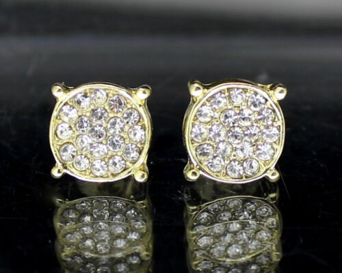 Men Women Iced Round Earrings 9mm 14k Gold Plated HipHop Fashion Stainless Steel