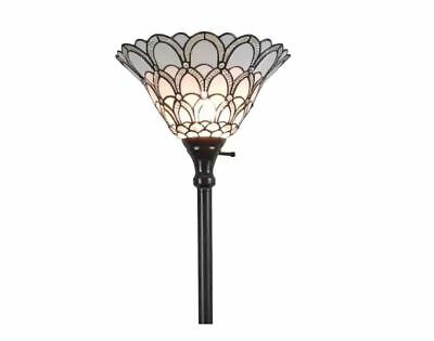 Glass Torchiere Floor Lamp - Tiffany style Torchiere Lamp 72 in Floor White torch shade stained glass vintage