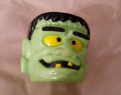 10-VINTAGE FRANKENSTEIN HEAD PLASTIC BLOW MOLD HALLOWEEN LIGHT COVERS ONLY W/BOX