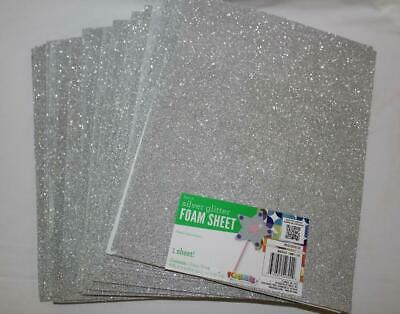 "FOAM SHEET LOT~12 Silver Glitter~8.85""X11.8""~EVA~Foamies"