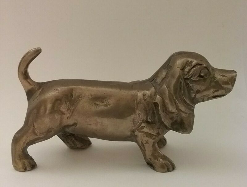 Vintage Brass Basset Hound Dog Paperweight, Desk Decor, Figurine