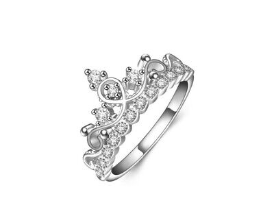 Royal Crown Pave Cubic Zirconia 925 Sterling Silver Engagement Band Ring RS58