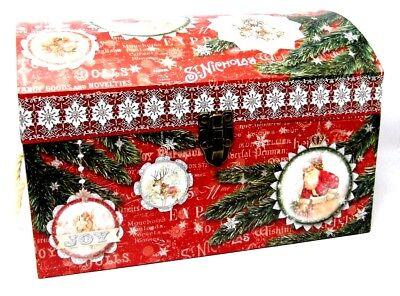 Punch Studio Decorative Chest Trunk Box Santa Ornament Christmas 61054 Large