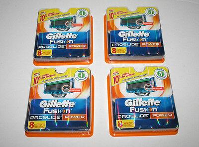 4 Packs of 8 Total 32 Genuine Gillette Fusion Proglide Power Shaving Cartridges