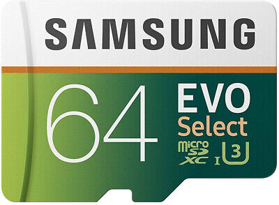 Samsung 64GB 100MB s (U3) MicroSD EVO Select Memory Card with Adapter