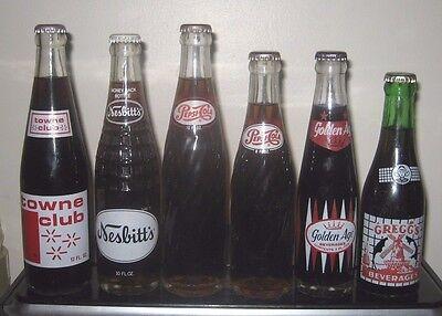 (6) Full Nesbitt's/Pepsi-Cola/Greggs/Golden Age 7/8/10/12oz ACL Soda Bottles