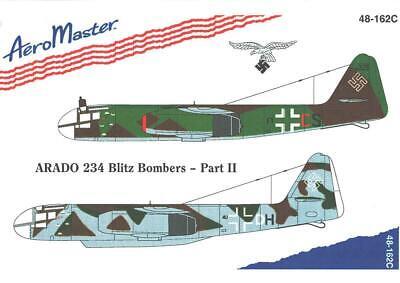1:48 Arado 234 Blitz Bombers Pt II 2 AeroMaster Model Decals Sheet NOS 48-162C