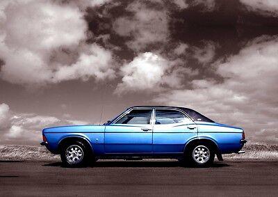 MK3 Ford Cortina Poster, classic car wall Art  A4 Print -  MKIII Cortina - Blue