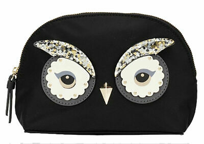 Kate Spade Cosmetic Make Up Bag Clutch Brand New Owl Black RRP $119