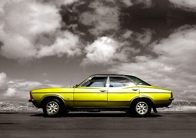 MK3 Ford Cortina Poster, classic car wall Art A4 Print - MKIII Cortina. Yellow