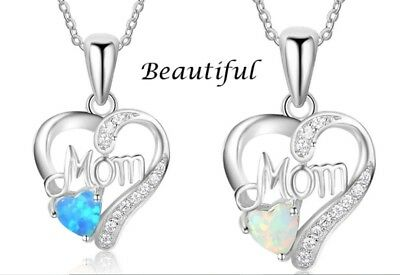 Women 925 Sterling Silver Opal Heart Mom Pendant Necklace Chain Jewelry Gift Box