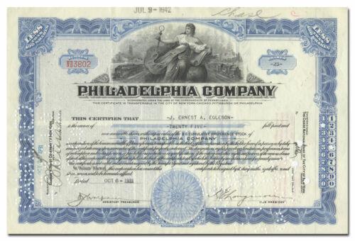 Philadelphia Company Stock Certificate