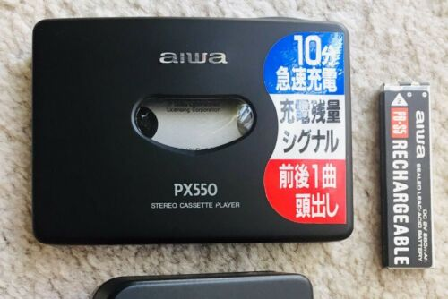 AIWA PX550 Walkman Cassette Player, Excellent Black Shape ! Tested & Working !
