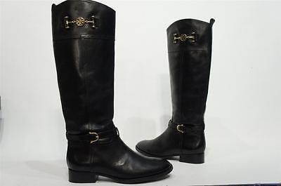TORY BURCH NADINE RIDING BLACK  LEATHER BOOTS  SHOES 10.5 $495