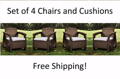 4 Piece Brown Resin Patio Conversation Set Chairs Seating Outdoor Home Furniture