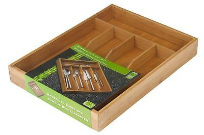 Bamboo Cutlery Box Wood Kitchen Drawer Organiser Utensil Storage Container Tray