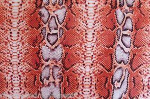 Dance-Costume-Lycra-Fabric-Orange-Snake-Skin-Print-50cm-x-150cm