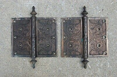 Monumental Matched Pair Circa 1876 Cast Bronze Hinges By Corbin Left Hand