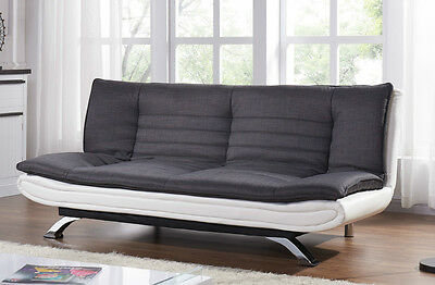 Sofa Bed Charcoal Fabric Padded with White Faux Leather Chrome Legs New