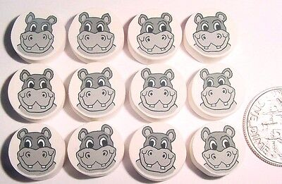 Hippo on White HM Polymer Fimo Clay Bead
