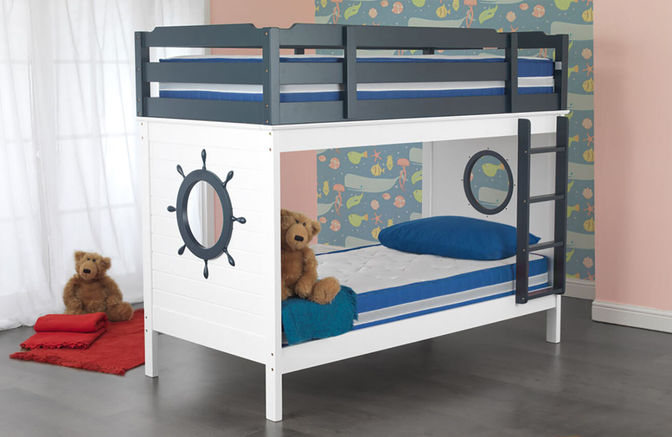 Pirate Solid Wood Bunk Bed White And Grey Childrens Bedroom Optional