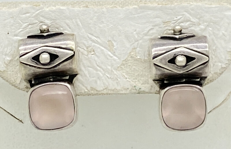 "Deborah Armstrong & Co DAC Sterling Silver Pink Quartz .75"" Earrings 7.1g"