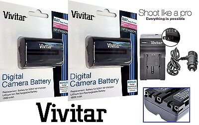 2-Pcs NP-FM500H Li-Ion Battery & Charger For Sony Alpha DSLR-A100 DSLR-A200, used for sale  Shipping to India
