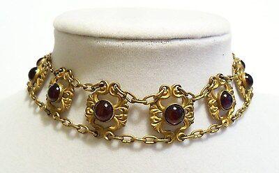 Vintage Victorian Art Nouveau Amethyst Glass Ornate Floral Choker Necklace