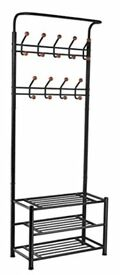Metal Multi-purpose durable Hat clothes bags Shoe Coat Rack Stand with Hanging Hooks (Black)