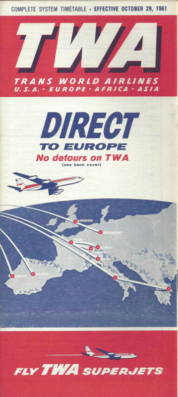 TWA Trans World Airlines system timetable 10/29/61 [0098]