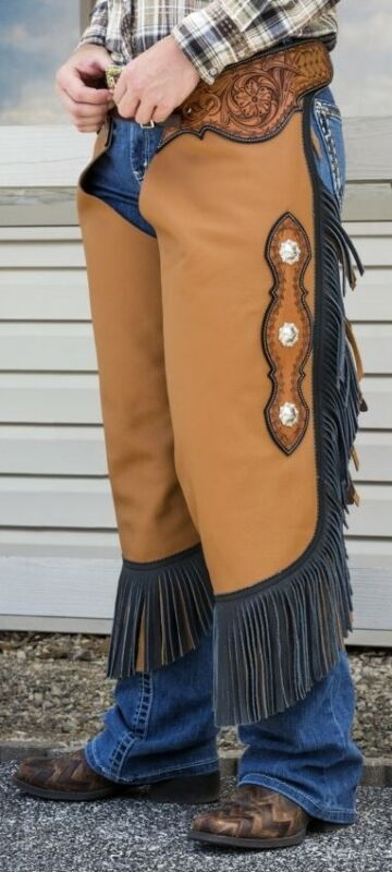 Western Chinks Chaps - Floral Tooled Yoke Smooth Tan Brown Leather - S,M,L,XL