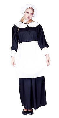 ADULT PILGRIM LADY COSTUME COLONIAL PRAIRIE PURITAN PIONEER AMISH WOMENS BLACK